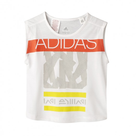 T-Shirt adidas Logo Junior Fille Blanc/Jaune