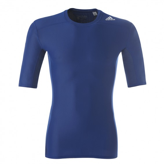 adidas Techfit Chill Short Sleeves Blue Training Compression Jersey