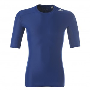 Maillot Compression Bleu Manche Courte adidas Techfit Chill - Taille - XS