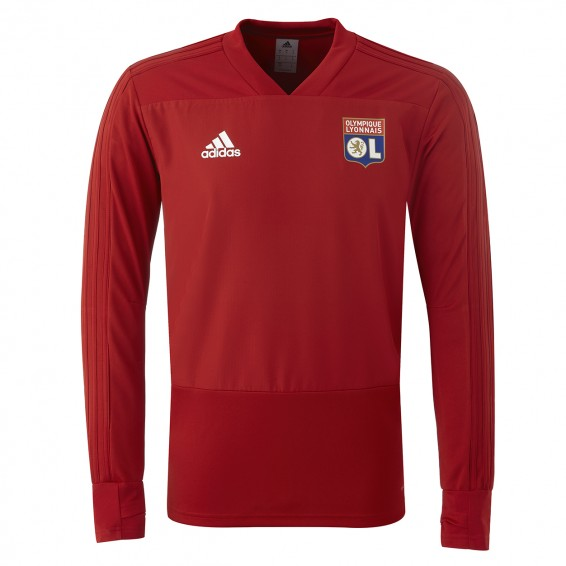 Sweat OL Entrainement Adulte Rouge 2018-19