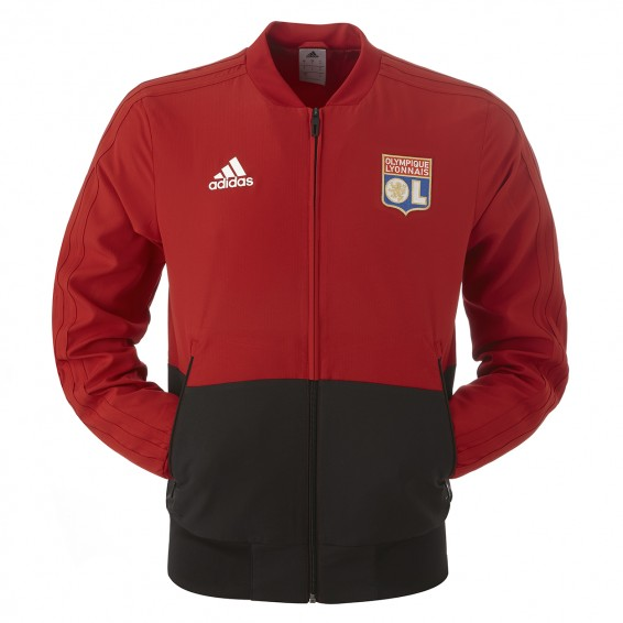Junior Red Black Olympique Lyonnais adidas Track Jacket 2018/2019