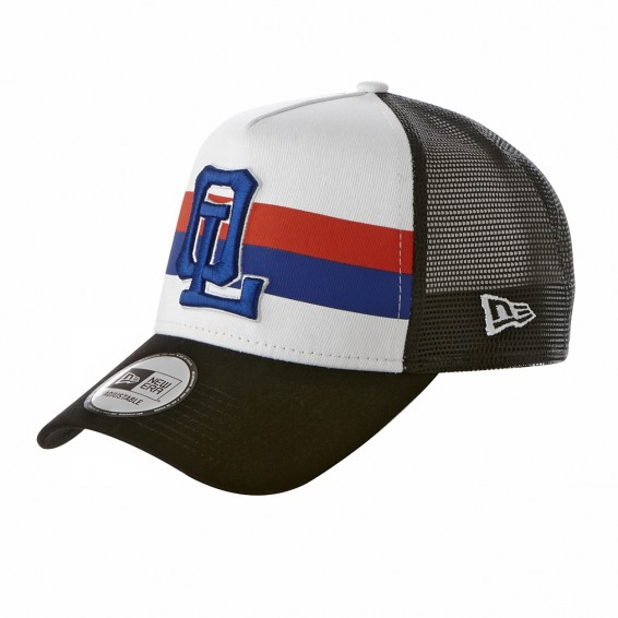 Adult New Era x Olympique Lyonnais White with Red & Blue Stripe Cap