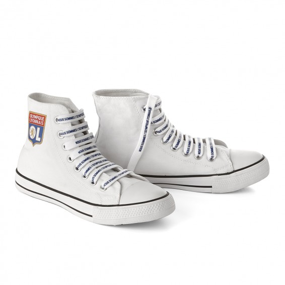 Chaussures montantes toile blanche Olympique Lyonnais