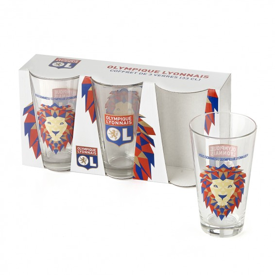 Lot de 3 verres 33 cl Lion Pop