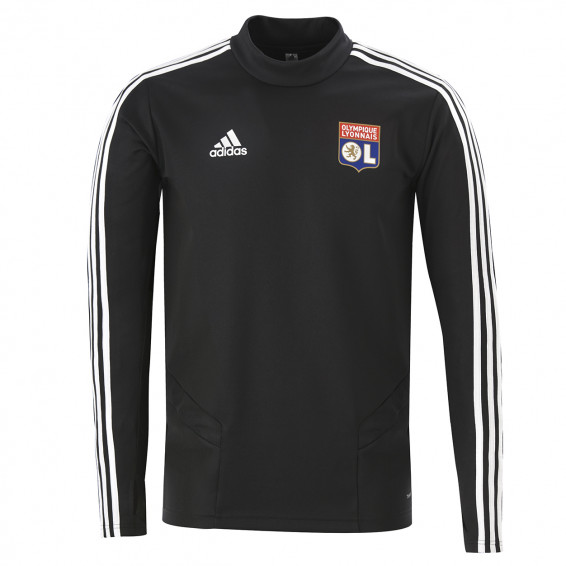 Sweat entrainement col rond noir staff Adulte OL adidas 19-20