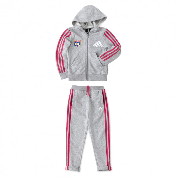 adidas Girl's Grey/Red Tracksuit Set